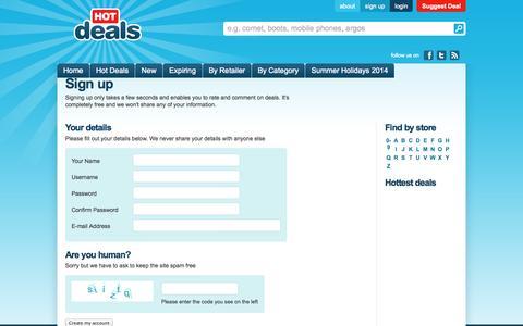 Screenshot of Signup Page hotdeals.co.uk - Sign up - captured Oct. 3, 2014