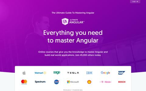 Screenshot of Home Page ultimateangular.com - Ultimate Angular: Expert-led online AngularJS and Angular training courses - captured July 8, 2018