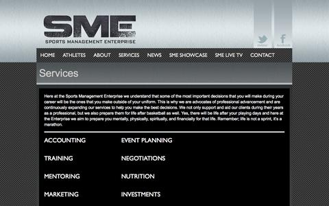 Screenshot of Services Page sportsmanagemententerprise.com - SPORTS MANAGEMENT ENTERPRISE - captured Oct. 7, 2014