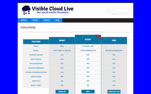 Screenshot of Pricing Page visiblecloudlive.com - Plans & Pricing ‹‹ Visible Cloud LiveVisible Cloud Live - captured Oct. 9, 2014