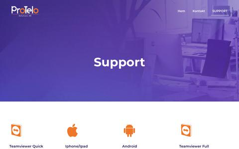 Screenshot of Support Page protelo.se - Support – Protelo - captured Dec. 15, 2018