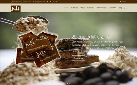 Screenshot of Home Page jutibar.com - Juti Bar | Organic, Vegan, and Gluten Free - captured Aug. 6, 2015