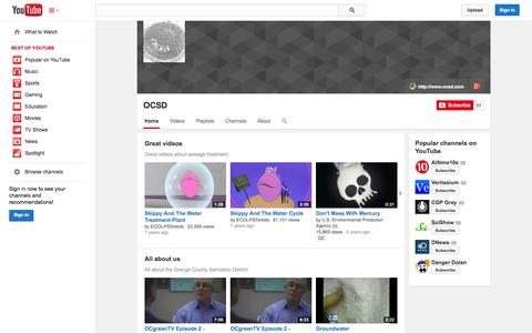 Screenshot of YouTube Page youtube.com - OCSD  - YouTube - captured Oct. 26, 2014
