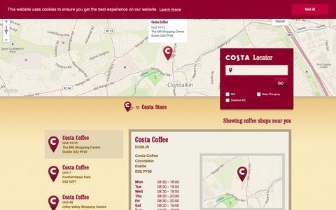 Screenshot of Locations Page costaireland.ie - Location Finder - captured Sept. 29, 2018