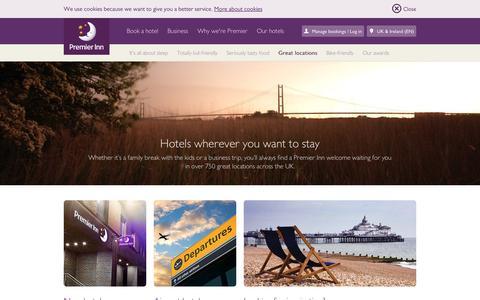Screenshot of Locations Page premierinn.com - Great Locations | Located Everywhere | Premier Inn - captured May 11, 2017