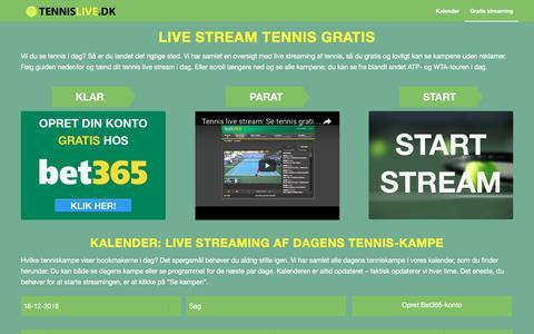 Screenshot of Home Page tennislive.dk - Tennis live stream - se tennis gratis og direkte - 10.000 kampe om året - captured Dec. 16, 2016