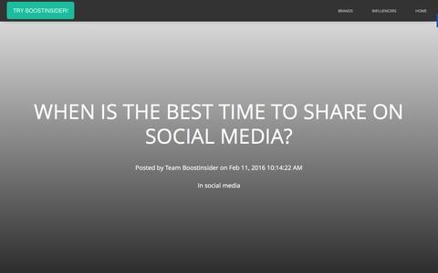 Screenshot of Blog boostinsider.com - When Is The Best Time To Share On Social Media? - captured Feb. 11, 2016