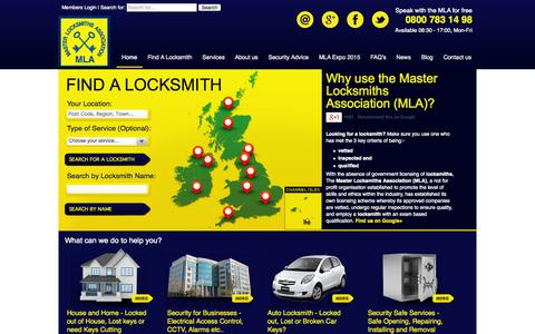 Screenshot of Home Page locksmiths.co.uk - Master Locksmiths Association (MLA) Find a Locksmith | Locksmith Training - captured Sept. 25, 2014
