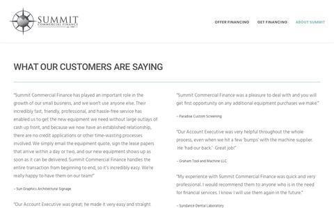 Screenshot of Testimonials Page summitcommercialfinance.com - Testimonials – Summit Commercial Finance - captured Oct. 20, 2018