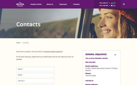 Screenshot of Contact Page thea2milkcompany.com - The a2 Milk Company™| a2 Milk™| contacts - captured Sept. 26, 2015