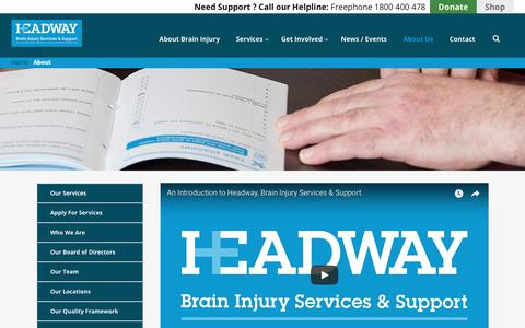 Screenshot of About Page headway.ie - About Headway | Brain Injury Services & Support Ireland - captured Sept. 27, 2018
