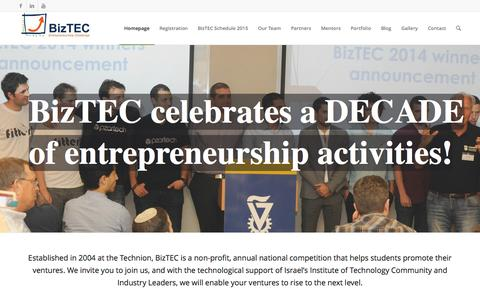 Screenshot of Home Page biztec.org.il - BizTEC | BizTEC - Entrepreneurship competition - captured Jan. 21, 2015