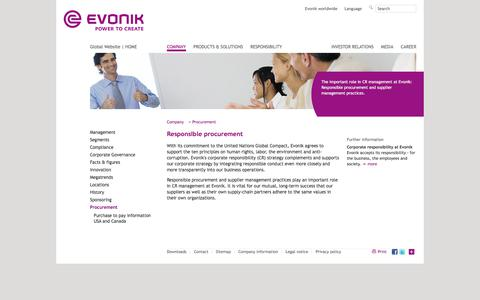 Evonik Industries - Specialty chemicals - Responsible procurement - Evonik Industries - Specialty Chemicals