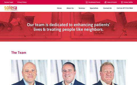 Screenshot of Team Page solerarx.com - The Team - Solera Specialty Pharmacy - captured Oct. 18, 2018