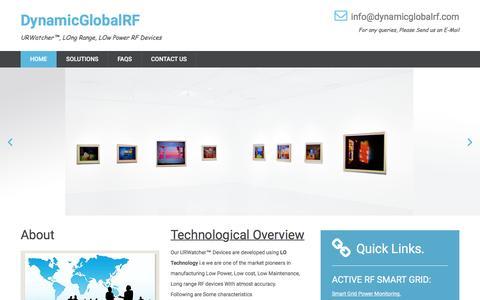 Screenshot of Home Page dynamicglobalrf.com - dynamicglobalrf.com, Long Range Active RF, Smart grid transformer management, Low Power RFID - captured July 31, 2016