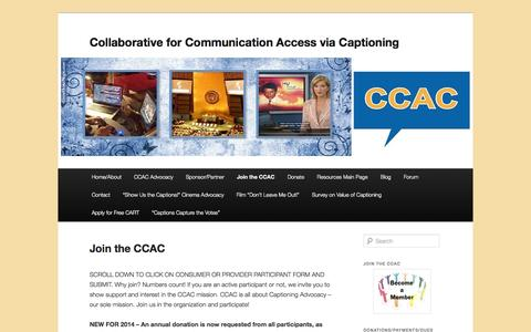 Screenshot of Signup Page ccacaptioning.org - Join the CCAC  | Collaborative for Communication Access via Captioning - captured Oct. 8, 2014