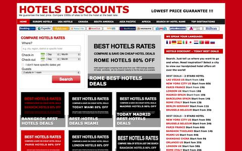 Screenshot of Home Page hotel-discount.com - Hotels Discounts - Cheap Hotels, Discounts, Hotel Deals and Offers - captured Nov. 22, 2015