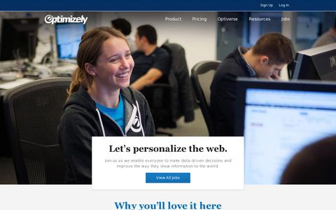 Screenshot of Jobs Page optimizely.com - Optimizely: Jobs - captured July 20, 2014