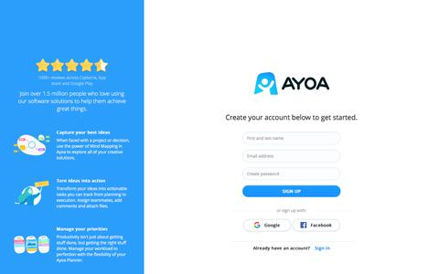 Screenshot of Signup Page ayoa.com - Ayoa Authentication - captured Nov. 2, 2019