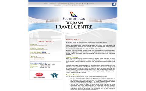 Screenshot of Privacy Page derranntravel.com - Derrann Travel - captured Oct. 5, 2014
