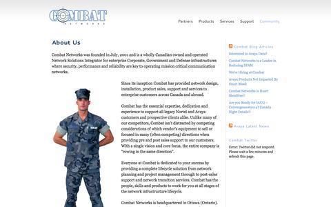 Screenshot of About Page combatnetworks.com - About Combat Networks - captured Sept. 30, 2014