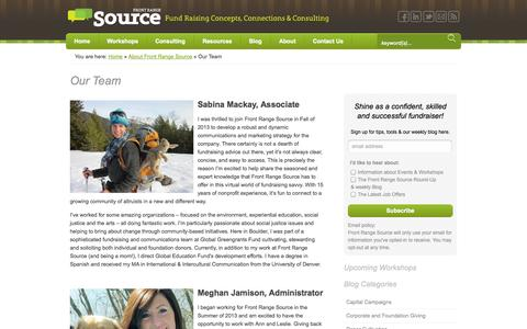 Screenshot of Team Page frontrangesource.com - Our Team - Front Range Source - captured Sept. 30, 2014