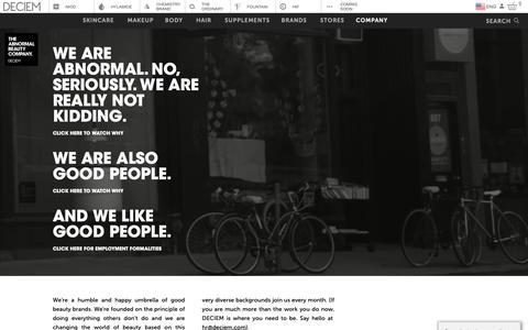 Screenshot of About Page deciem.com - DECIEM | Company - captured May 16, 2019