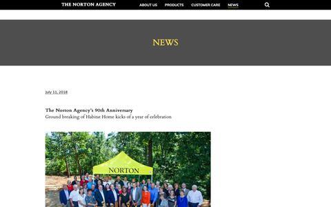 Screenshot of Press Page nortoninsurance.com - News - The Norton Agency - captured Oct. 18, 2018