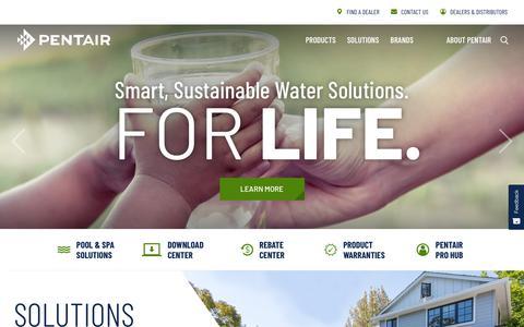 Screenshot of Home Page pentair.com - Pentair - captured Aug. 9, 2019