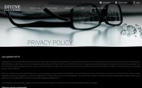 Screenshot of Privacy Page divinesolitaires.com - Privacy Policy, Divine Solitaires Privacy Policy In India | Divine Solitaires - captured Aug. 7, 2018