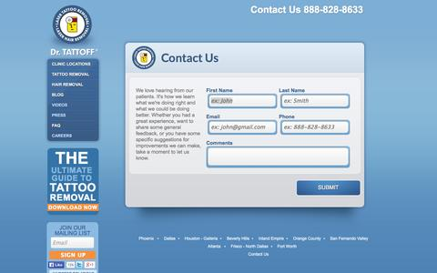 Screenshot of Contact Page drtattoff.com - Contact Us - Tattoo Removal at Dr. Tattoff. SoCal, Houston, Phoenix, Dallas & More - captured Sept. 12, 2014