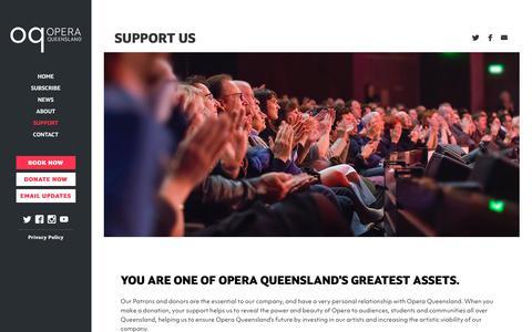 Screenshot of Support Page oq.com.au - Support Us | Opera Queensland – Season 2019 - captured Nov. 15, 2018