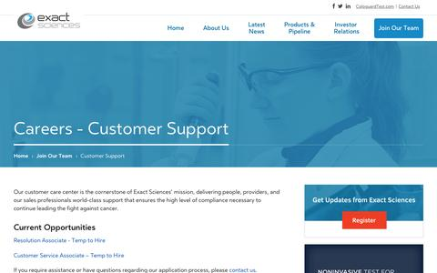 Screenshot of Support Page exactsciences.com - Customer Support - Careers | Exact Sciences - captured Dec. 4, 2015