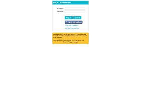 Screenshot of Login Page roomsketcher.com - Sign In - RoomSketcher - captured June 15, 2017