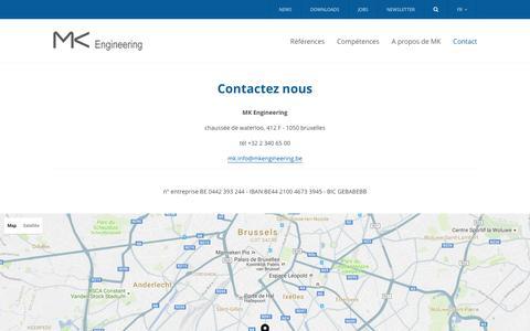 Screenshot of Contact Page mkengineering.be - Contact -  MK Engineering - captured Nov. 16, 2016