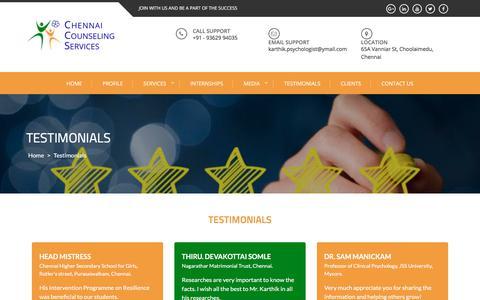 Screenshot of Testimonials Page counselingchennai.com - Testimonials – Chennai Counselling Services - captured July 28, 2017