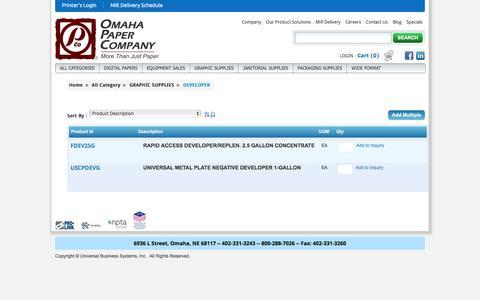 Screenshot of Developers Page omahapaper.com - Omaha Paper Company - captured Nov. 29, 2016