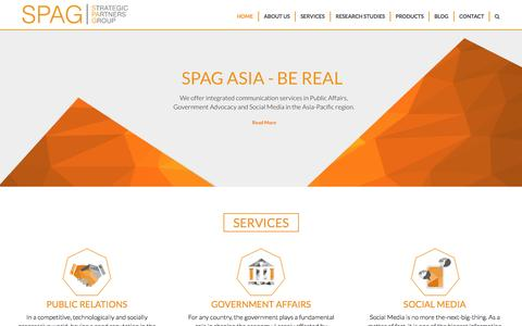 Screenshot of Home Page spag.asia - SPAG Asia – Public Relations, Government Relations and Social Media consultancy - captured Sept. 12, 2015