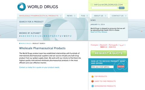 Screenshot of Products Page worlddrugs.com - WorldDrugs.com the link to bulk and wholesale pharmaceuticals - captured Oct. 26, 2014
