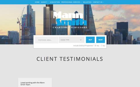 Screenshot of Testimonials Page mannsmith.co.uk - Commercial Estate Agents London - Commercial Property London - Mann Smith Commercial - captured May 28, 2017