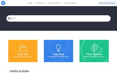 Screenshot of Support Page yotpo.com - Home - captured June 2, 2016