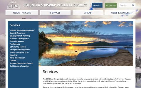 Screenshot of Services Page csrd.bc.ca - Services | Columbia Shuswap Regional District - captured Jan. 30, 2016