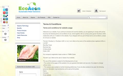 Screenshot of Terms Page ecoaeon.ae - Terms & Conditions - EcoAeon UAEEcoAeon UAE - captured Oct. 1, 2014