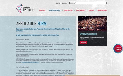 Screenshot of Signup Page europeanfilmcollege.com - Sign up - captured July 22, 2018