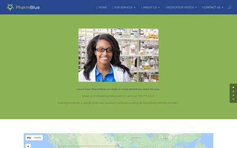 Screenshot of Locations Page pharmblue.com - I CONTACT US | PharmBlue - captured July 30, 2017
