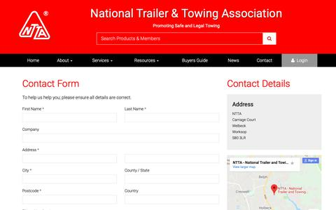 Screenshot of Contact Page ntta.co.uk - Contact the NTTA - captured Nov. 9, 2018