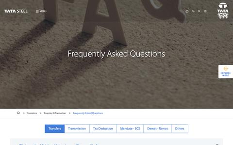 Screenshot of FAQ Page tatasteel.com - Tata Steel Investors Frequently Asked Questions (FAQs) - captured Sept. 24, 2018