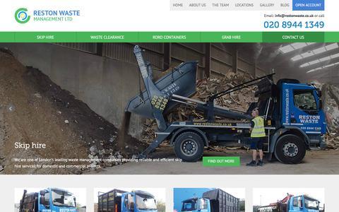 Screenshot of Home Page restonwaste.co.uk - Skip Hire, Skip Hire Prices & Cheap Skip Hire - Reston WasteReston Waste - captured Feb. 15, 2016