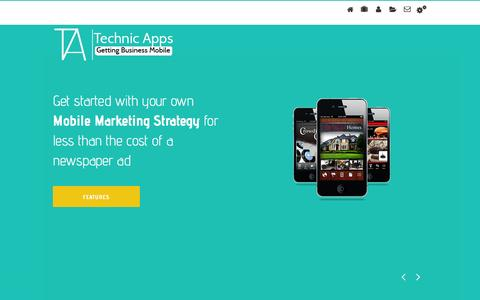 Screenshot of Home Page About Page Contact Page Services Page technicapps.com - Mobile Apps for Small Business by Technic Apps - captured Jan. 10, 2016