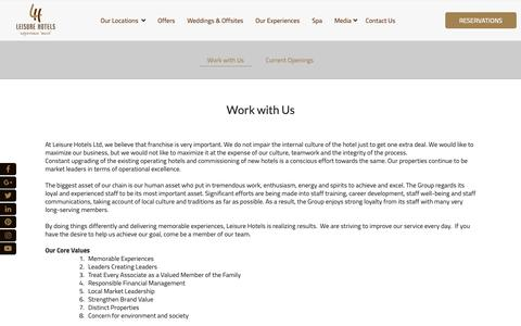 Screenshot of Jobs Page leisurehotels.co.in - Work with Us | Hotel Franchise in Uttarakhand | Leisure Hotels - captured Sept. 28, 2018